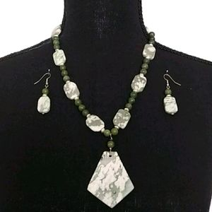 💚Vintage 925 Green Natural Stone Jewelry Set